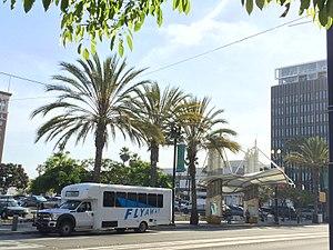 FlyAway (bus) - Long Beach FlyAway Bus at Long Beach Transit Shelter A