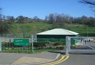 Longley Park - The main entrance on Crowder Road with the pavilion and park behind.