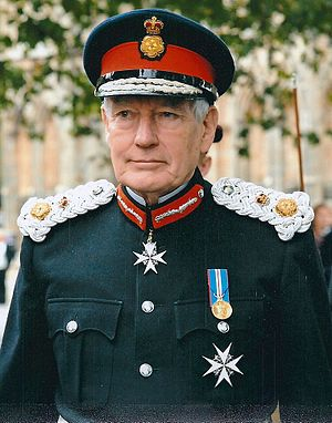 Lord Lieutenant - The uniform of an English Lord-Lieutenant includes a rose-and-crown badge on the cap and shoulder-boards