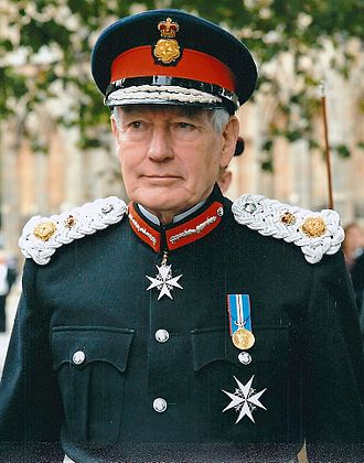 Lord-lieutenant - The uniform of an English lord-lieutenant includes a rose-and-crown badge on the cap and shoulder-boards