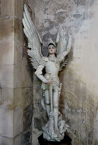 St. Alban Church, Lormes, Nièvre, France. Statue of St. Michael.