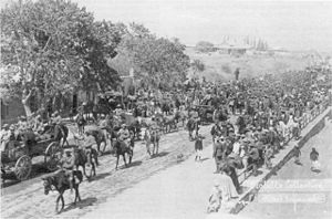 Battle of Groenkloof - Lotter's commando being escorted into Graaff Reinet by the Coldstream Guards