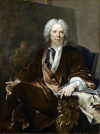 Louis Galloche - Louis Tocqué, Portrait of Louis Galloche, oil on canvas, 130 x 98 cm, Louvre Museum