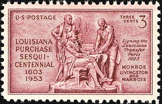 François Barbé-Marbois - U.S. postage stamp (c. 1953) commemorating the Louisiana Purchase; Barbé-Marbois is pictured alongside James Monroe and Robert Livingston