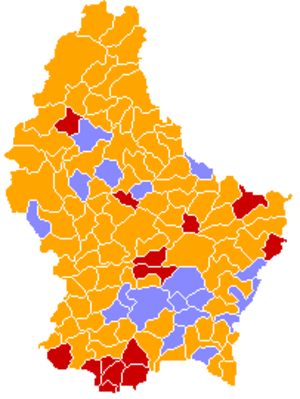 Luxembourg general election, 1999 - Image: Luxembourg legislative election 1999 communes map