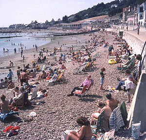 1976 United Kingdom heat wave - Lyme Regis Beach, Dorset, August 1976