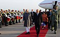 M. Hamid Ansari and Smt. Salma Ansari with the President of the National People's Assembly of Algeria, Mr. Mohamed Larbi Ould Khelifa, on their arrival, at Algiers Houari Boumediene Airport, in Algeria.jpg