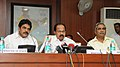M. Veerappa Moily briefing the press on the power situation, in New Delhi on August 06, 2012. The Minister of State for Power, Shri K.C. Venugopal and the Secretary, Ministry of Power, Shri P. Uma Shankar are also seen.jpg