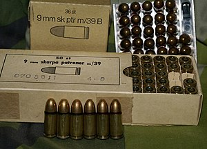 9×19mm Parabellum - 9mm live ammunition m/39 and m/39B in their boxes
