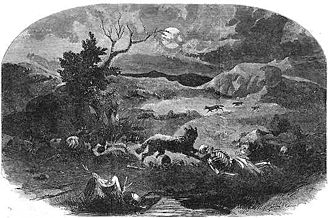 "Mountain Meadows massacre - The cover of the August 13, 1859, issue of Harper's Weekly illustrating the killing field as described by Brevet Major Carleton  ""one too horrible and sickening for language to describe. Human skeletons, disjointed bones, ghastly skulls and the hair of women were scattered in frightful profusion over a distance of two miles."" ""the remains were not buried at all until after they had been dismembered by the wolves and the flesh stripped from the bones, and then only such bones were buried as lay scattered along nearest the road""."