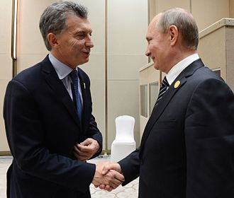Argentina–Russia relations - President Macri and President Putin in G20 Summit in China, 2016.