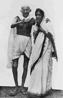 Mahatma Gandhi with Rajkumari Amrit Kaur at Simla in 1945.jpg