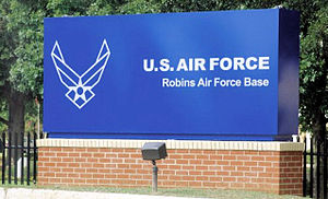 Robins Air Force Base - Robins AFB main gate sign