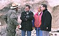 Making of ILLUSION INFINITY, director Roger Steinmann with Timothy Bottoms, left, Dee Wallace, and Kristian Horn, on set in Depth Valley.jpg