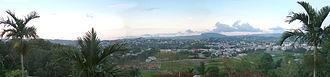 Mandeville, Jamaica - Panorama of Mandeville viewed looking North from Bloomfield Great House restaurant