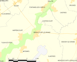 Mapa obce Seraucourt-le-Grand