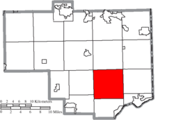 Location of Madison Township in Columbiana County