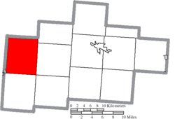 Location of Perry Township in Hocking County