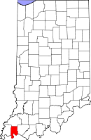 Map of Indiana highlighting Vanderburgh County