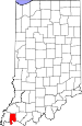 Map of Indiana highlighting Vanderburgh County.svg