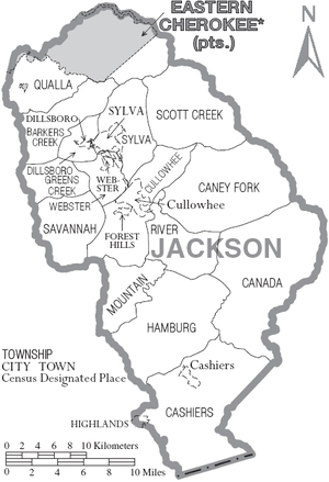 Jackson County, North Carolina - Map of Jackson County, North Carolina With Municipal and Township Labels