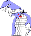 State map highlighting Charlevoix County