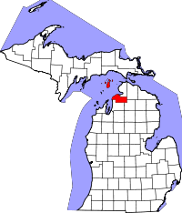 Map of Michigan highlighting Charlevoix County