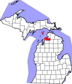 Map of Michigan highlighting Charlevoix County.svg