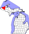 State map highlighting Ontonagon County