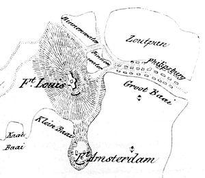 Fort Amsterdam (Sint Maarten) - Map of Philipsburg (1850)