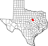 Map of Texas highlighting Bosque County