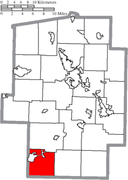 Location of Oxford Township in Tuscarawas County