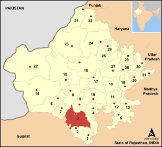 Udaipur district - Image: Map rajasthan dist num 3