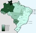 Mapa de poblacion indigena de Brasil por estados.png