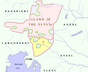 """Valuk (duke) - The greatest possible extent of Valuk's """"Land of the Slavs"""". For southern territory (yellow) there is no information. At the time of Valuk there were some aborigine population concentrations in Eastern Alps (light blue)."""