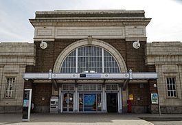 Margate railway station entrance Margate Kent England.jpg