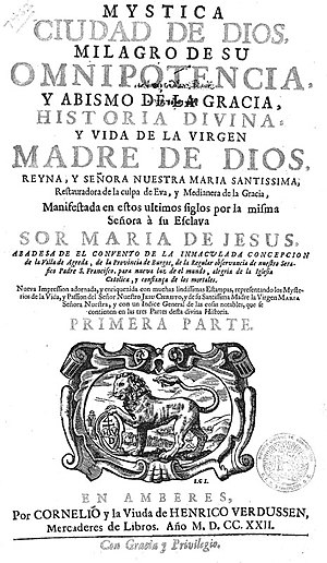 Mary of Jesus of Ágreda - The title page of the Mistica Ciudad de Dios, Vida de la Virgen María, a work written by the Venerable María de Jesús de Ágreda and published in 1722