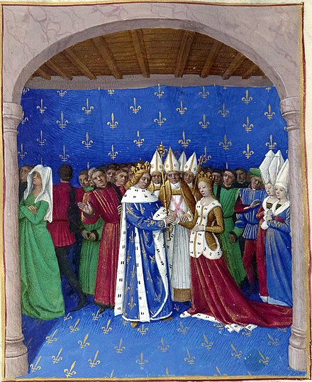 Marriage of Charles IV and Marie of Luxembourg, by Jean Fouquet Mariage de Charles IV le Bel et de Marie de Luxembourg.jpg