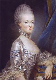 Maria Antonietta a 14 anni nel ritratto ufficiale inviato a Versailles. Pastello di Joseph Ducreux.