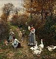 Marie François Firmin-Girard Hirtenmädchen am Waldrand beim Entfachen eines Feuers.jpg