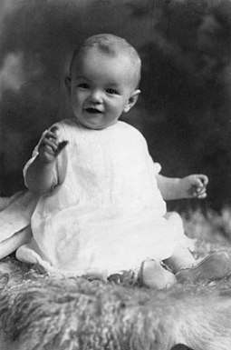 Monroe as an infant, c. 1927 Marilyn monroe as an infant brightened.jpg