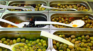 Black and green marinated olives