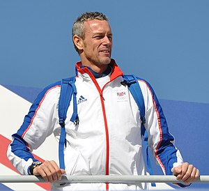English: Mark Foster, British swimmer, at the ...