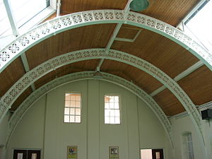 Birmingham board school - Typical exposed roof ironwork. Tilton Road School, Bordesley.