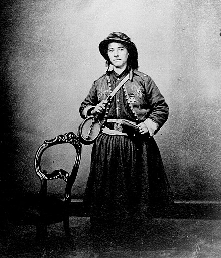 French Marie Tepe of the 114th Pennsylvania Infantry, a vivandière of the US Civil War. Mary Tippee, Vivandere.jpg