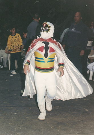 Wrestling mask - Mascarita Sagrada wearing a mask that covers his entire face.