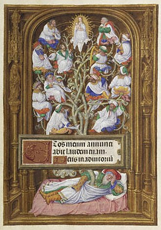 Tree of Jesse - A typical Jesse Tree of the Late Medieval period, detail of the Spinola Hours of Ludwig by the Master of James IV of Scotland, (1510-20)
