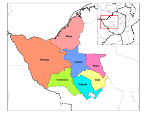 Matabeleland North Province - Districts of Matabeleland North