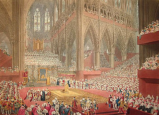 Coronation of the British monarch ceremony (specifically, initiation rite) in which the monarch of the United Kingdom is formally invested with regalia and crowned at Westminster Abbey