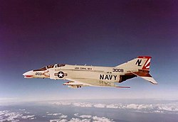 McDonnell F-4B Phantom II of VF-111 in flight, in 1973.jpg